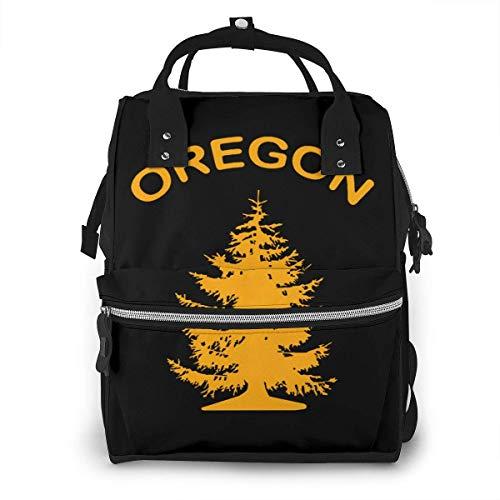 GXGZ Oregon Douglas Pine Tree Bolsa de pañales Mochila Impermeable Multifunción Bolsas para cambiar pañales Bolsas de pañales de maternidad Durables de gran capacidad para mamá Papá Viajes Cuidado del
