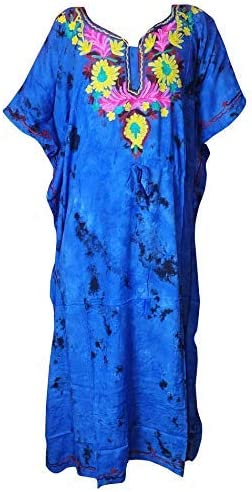 HarLen Women Rayon Caftan Night Dress Summer Dress Kimono Style Caftan Cover Ups (Blue)