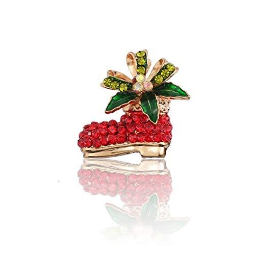 RelaxLife Broszki Boże Narodzenie buty szpilki i broszki dla kobiet złota emalia przypinka kryształ górski kwiat Boże Narodzenie buty broszka biżuteria prezenty broszki