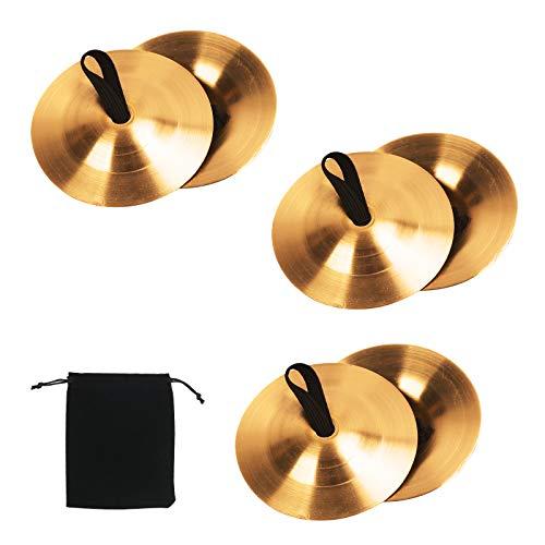 BELIOF - 6 platillos para dedos, danza del vientre, oro, zills para dedos, percusión, platillos para dedos, instrumento musical de latón, accesorio de baile para fiestas de baile