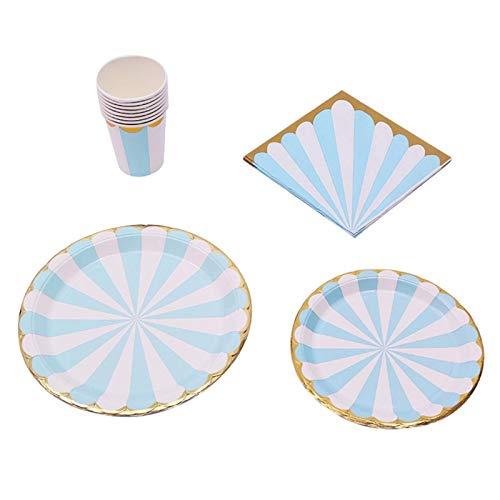 Juego de platos con diseño de flores de ciruelo para fiesta de cumpleaños, para picnic, color azul