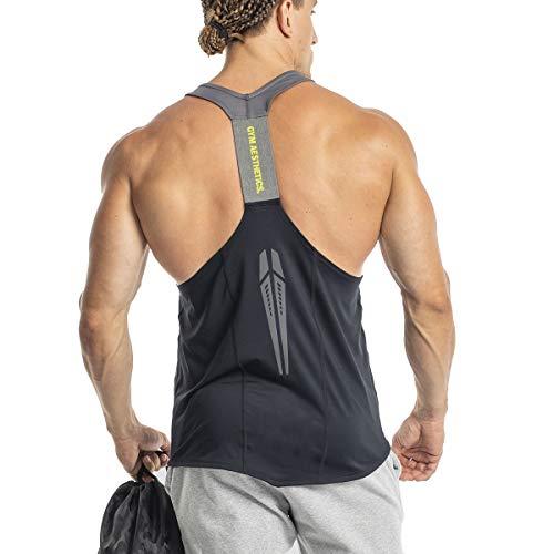 GYM AESTHETICS Camiseta de tirantes para hombre «Intensity», protección UV, antiestática, regulación de la humedad, fitness y otros deportes., Negro , medium