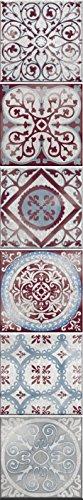 Décoration adhésive pour CARRELAGE 260590 Carreaux de Ciment Antique Marvao, Polyvinyle, Rouge/Bleu, 15 x 15 x 0,1 cm