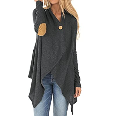 Pocciol Women's Irregular Drape Long Sleeve Patchwork Trench Coat Overcoat