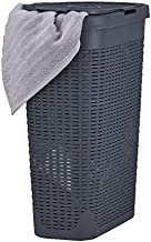 Superio Narrow Laundry Hamper 40 Liter With Easy Lid, Slim and Tall, Grey Durable Wicker Hamper, Washing Bin with Cutout H...