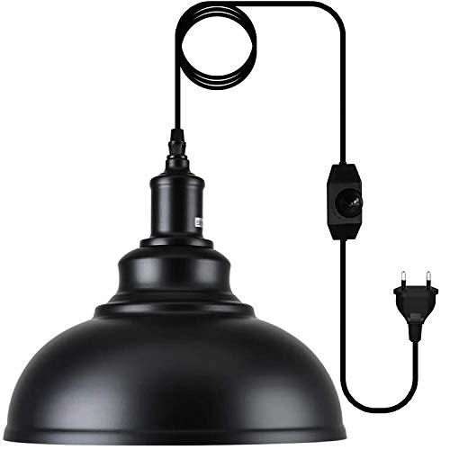Lámpara de Techo Industrial Vintage Retro, Lámpara Colgantes Para Interiores Clásica de Metal, con interruptor - Lámpara portalámpara y cable 4.5M, para Comedor, Barra, Café, Negro, Ø 30cm