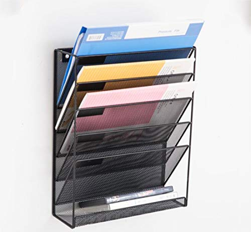 Catekro Organizador de oficina a prueba de herrumbre Soporte de documentos apilable de metal duro de 5 niveles,40.6x10.5x32.5 cm