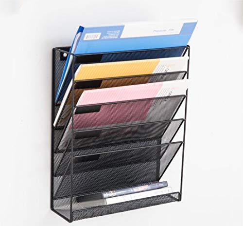 Ablagekorb aus Netzstoff, stapelbar, 5 Ebenen, silberfarben, Schreibtisch-Organizer, Zubehör, stapelbar (Schwarz)