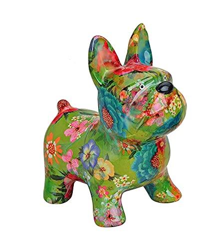 Osiris Trading UK French Bulldog Glossy Porcelain Money Box Home Decoration Statue Dog Lovers Figure (Green)