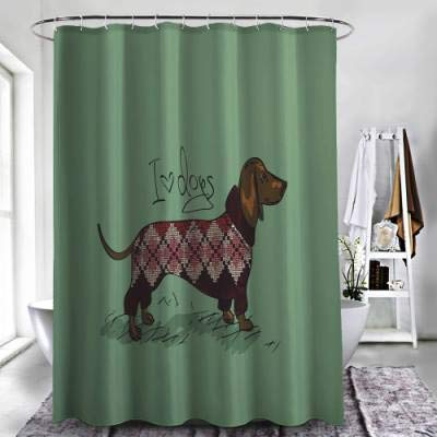 """ZXAWT Brand Waterproof Bathroom Shower Curtains Dachshund,Cute Dog in Knitted Sweater Design Detailed Colorful Cartoon Style Animal Pattern(40"""" W x 72"""" H)"""