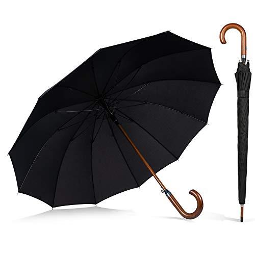 AP® - Automatik Regenschirm windfest für Damen und Herren - eleganter Stock-Schirm aus Holz - 12 fache Verstrebung Carbon Fiber - groß stabil & windresistent sturmfest - 115cm Ø (Schwarz)