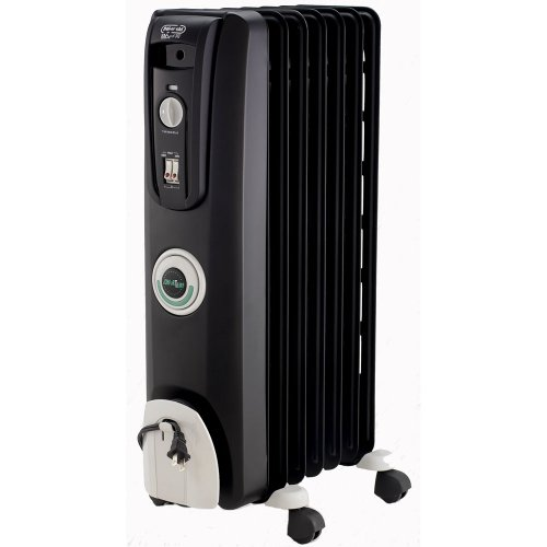 De'Longhi Oil-Filled Radiator Space Heater, Quiet 1500W, Adjustable Thermostat, 3 Heat Settings, Timer, Energy Saving, Safety Features, Nice for Home with Pets / Kids, Black, Comfort Temp EW7707CB