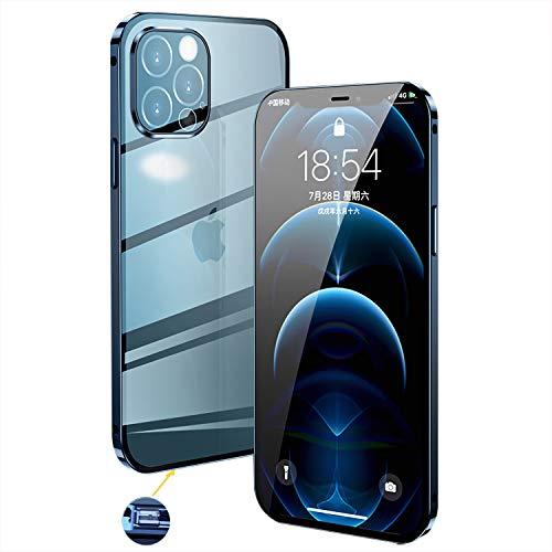 Funda iPhone 12 Pro MAX Magnética Carcasa,Transparente Vidrio Templado Case con Protector Cámara,360° Anti-choques Marco Metal con Cerradura Seguridad,Protector Doble Estuche para 12 Pro MAX,Azul
