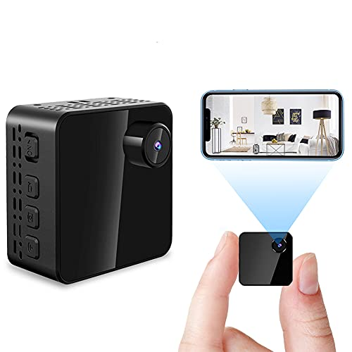 con Detección De Movimiento Visión Nocturna Vista Remota Oculta WiFi Pequeña Cámara para Oficina Hogar Niñera CAM,Full HD 1080P Mini Cámaras De Vigilancia De Seguridad-Negro