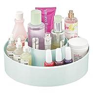 mDesign Plastic Spinning Lazy Susan Round Turntable Storage Tray - Rotating Organizer for Makeup, Cosmetics, Nail Polish, Vitamins, Shaving Kits, Hair Spray, Medical Supplies, First Aid - Mint Green
