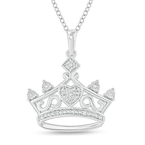 Colgante de corona de corazón de corte redondo D/VVS1 de 1.00 quilates para mujer con cadena de 45.72 cm en plata de ley 925