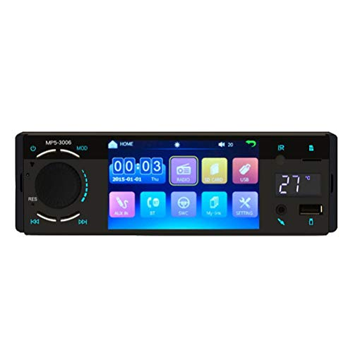 Smosyo Coche estéreo Bluetooth Radio Reproductor de Video Reproductor MP5 para automóvil Pantalla táctil de 4,1 Pulgadas Reproducción de Video Bluetooth Radio FM Control Remoto USB