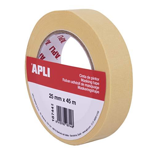 APLI 18744 - Rollo cinta de pintor o carrocero 25 mm x 45 m formato individual. Papel de 57 g/m². Resistente hasta 60º