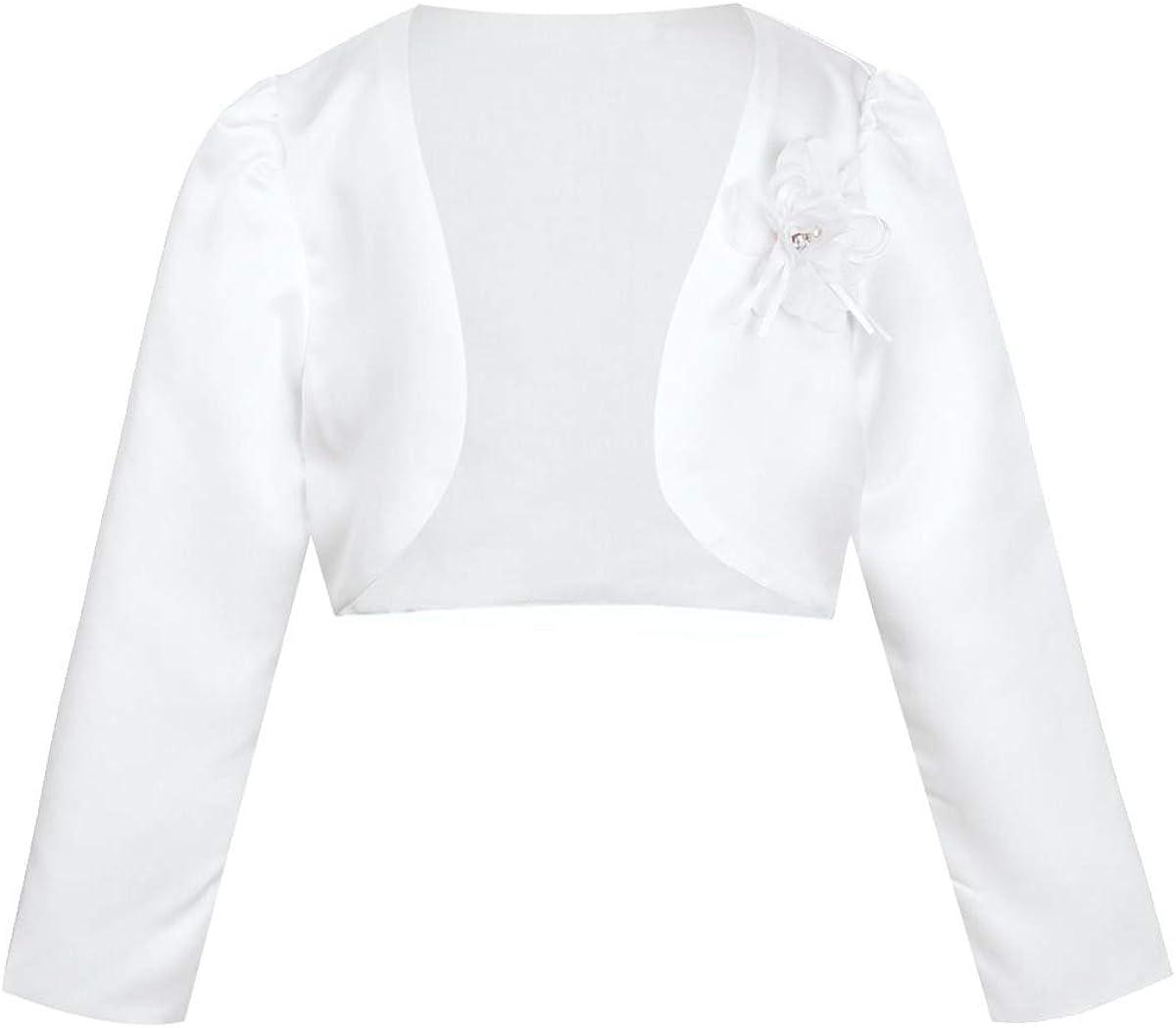JanJean Kids Girl's Long Sleeve Bolero Jacket Shrug Short Cardigan Dress Cover up Outerwear