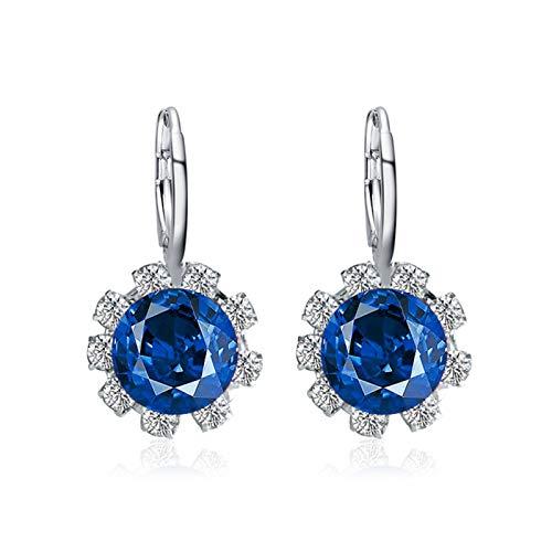 Pendientes redondos para mujer, diseño de flor de cristal de imitación con circonita cúbica, color azul real