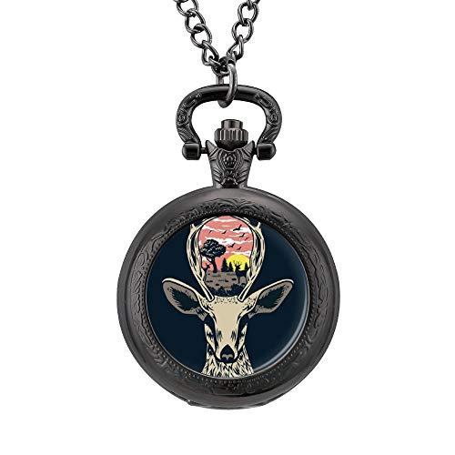 Ninguna marca vintage ciervos paisaje reloj de bolsillo grabado de cuarzo colgante collar con cadena para hombres mujeres lm2obn54uw5d, lm2o5y94kenk, negro, talla única