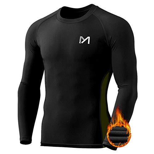 MEETYOO Thermoshirt Herren, Kompressionsshirt Langarm Funktionsshirt Thermounterwäsche Oberteile Atmungsaktiv Sportshirt Männer Laufshirt für Running Fitness Gym