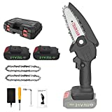 Cordless Mini Chainsaw, EDJO Portable 4 Inch One-Handheld Electric Chainsaw|Rechargeable 21V 6000mAH Battery Powered Chain Saw Kit for Tree Pruning Trimming,Wood Cutting(2 Pack Batteries & 2 Chains)