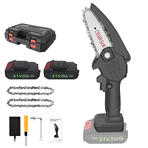 Cordless Mini Chainsaw, EDJO Portable 4 Inch One-Handheld Electric...