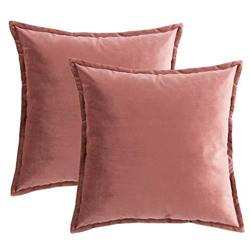 Bedsure Kissenhülle 40x40 Rosa Doppelpack, Kissenbezug 40 x 40 cm aus samt Mikrofaser, dekorative Kissenbezüge 2er Set weich und atmungsaktiv
