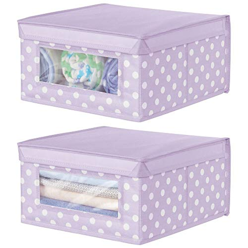 mDesign Soft Stackable Fabric Closet Storage Organizer Holder Box - Clear Window, Attached Lid, for Child/Kids Room, Nursery - Polka Dot Print - 2 Pack - Wisteria/Light Purple