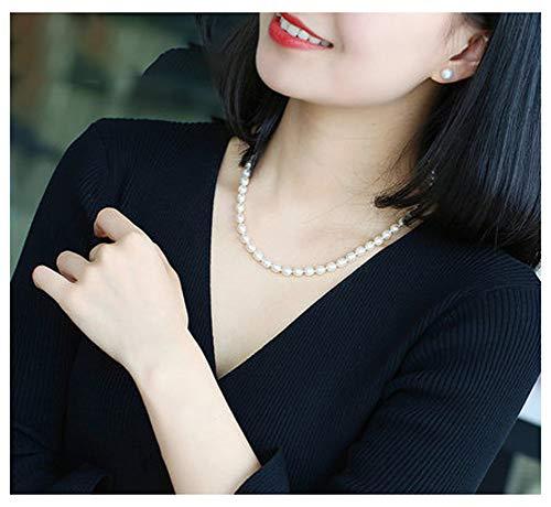 RXSHOUSH Collar de perlas de agua dulce para mujer, forma de arroz, collar de perlas de 6 a 10 mm, caja de regalo para madre y novia., Color blanco 43 cm., 7 mm