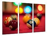 Cuadros Camara Fotográfico Juego Mesa de Billar Tamaño total: 97 x 62 cm XXL, Multicolor