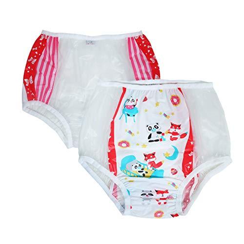 TEN@NIGHT Bbay Windelhöschen für Erwachsene, aus Kunststoff, Inkontinenz, PVC, 2 Stück (Rot, XL)