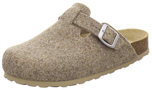 AFS-Schuhe Damen Hausschuhe geschlossen aus Filz, Bequeme, warme Winter Clogs, Made in Germany, 26900 (40 EU, Natur)