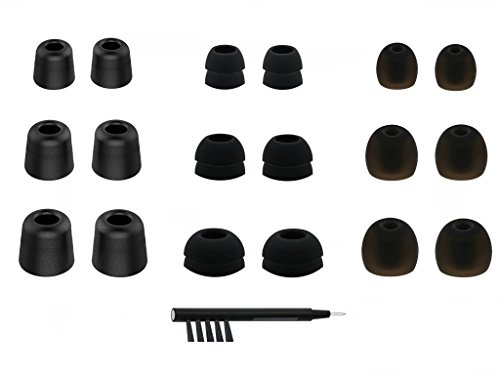 NICKSTON N-4 Assorted Ear Tips Set for In Ear Earphones with 6.4mm to 7.4mm Nozzle Attachment - Replacement Adapters Gels Buds with Box Organizer and Cleaning Tool