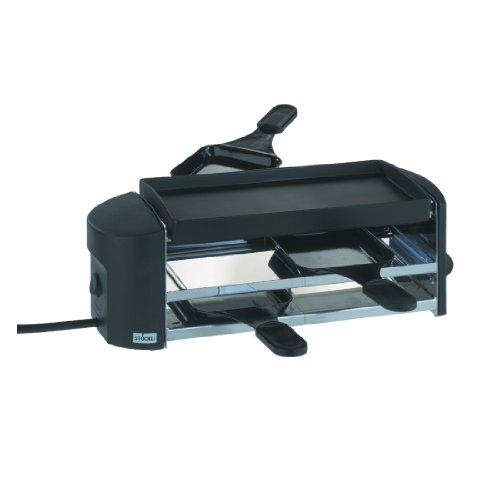 Stöckli Grill Cheeseboard Twin, antihaft, beschichteter Grillplatte, 2 Raclettepfännchen spachtel, 0002.02