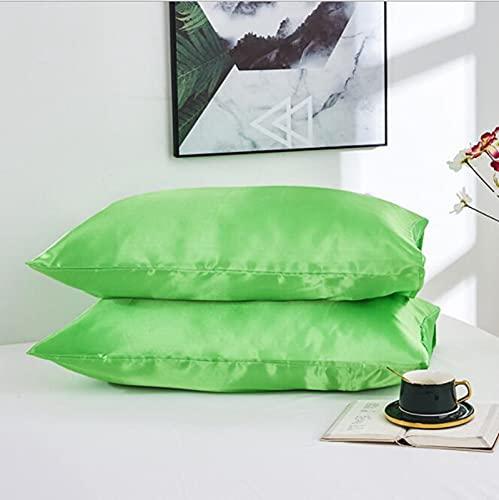 2 uds Funda de Almohada de Seda Satinada de Color sólido Funda de Almohada Rectangular Decorativa para el hogar para Dormitorio Funda de Almohada de Hotel