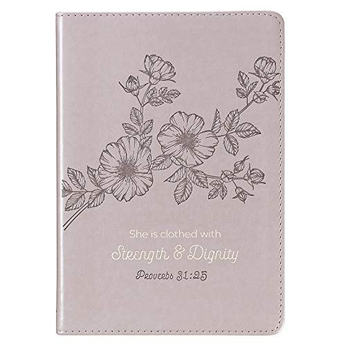 Christian Art Gifts Grey Faux Leather Journal | Strength and Dignity - Proverbs 31 Woman Bible Verse | Slim Line Flexcover Inspirational Notebook w/Ribbon Marker, 240 Lined Pages, 6 x 8.5 x .8 Inches