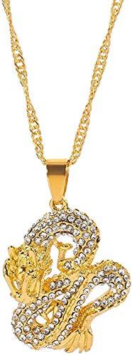 NC122 Auspicioso Dios Bestia dragón Colgante Collar Amuleto Cristal Color Oro Collar joyería para Hombres Mujeres Vintage Cool Collar