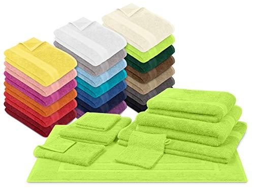 npluseins Packs zum Sparpreis - solide Frottiertücher - erhältlich in 20 modernen Farben und 8 verschiedenen Größen, 2er Pack Badvorleger (50 x 80 cm), apfelgrün