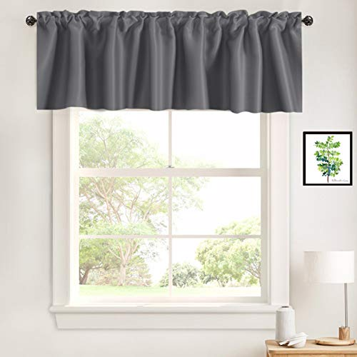 """Caudblor Valance Rod Pocket Window Treatment Blackout Thermal Insulated Solid Short Curtain Topper Valances for Kitchen Living Room Bedroom, 42"""" x 18"""", Gray, 1 Panel"""