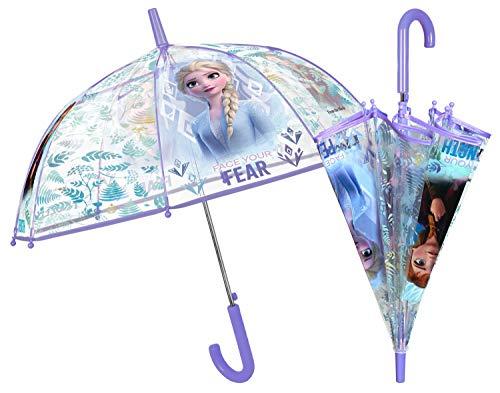 Paraguas con diseño Disney Frozen II, Paraguas para niñas, diámetro Aprox. 74 cm, Apertura automática y Estructura de Fibra de Vidrio, compañero Ideal para días lluviosos