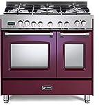 Verona Prestige Series VPFSGE365DBU 36 inch. Dual Fuel Range 5 Sealed Burners Double Oven Convection Storage Drawer Burgundy