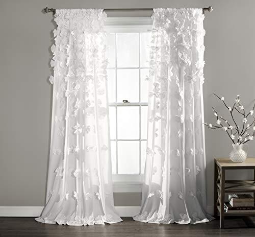Lush Decor Riley Fenstervorhänge, 213,4 x 137cm, weiß