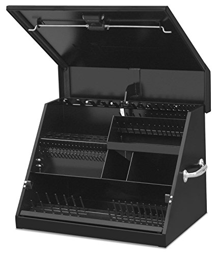 Montezuma – SE250B – 26-Inch Portable TRIANGLE Toolbox – Multi-Tier Design – Heavy-Duty Steel Construction – SAE and Metric Storage Chest – Weather-Resistant Toolbox – Lock and Latching System, Black