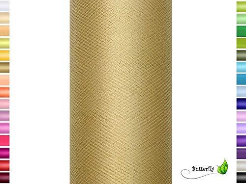Nastro di tulle, 9 m, 15 cm, in rotolo gold 687