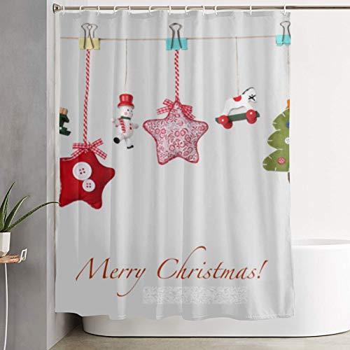 PbbrTK Personalisierter Duschvorhang,Weihnachtsspielzeug Girlande Hintergr&,wasserabweisender Badvorhang für das Badezimmer 180 x 210 cm