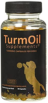 The Golden Paste Company TurmOil Turmeric, Flax Oil and Piperine Supplement for Pets, Capsules for Dogs and Cats Complementary Pet Food - 90 Capsules