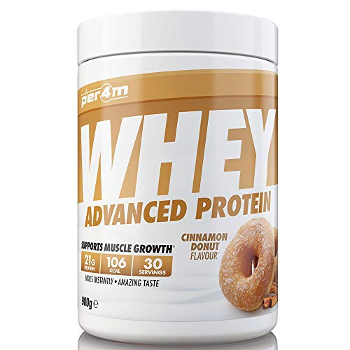 per4m Protein Whey Powder | 30 Servings of High Protein Shake with Amino Acids | for Optimal Nutrition When Training | Low Sugar Gym Supplements (Cinnamon Donut, 900g)