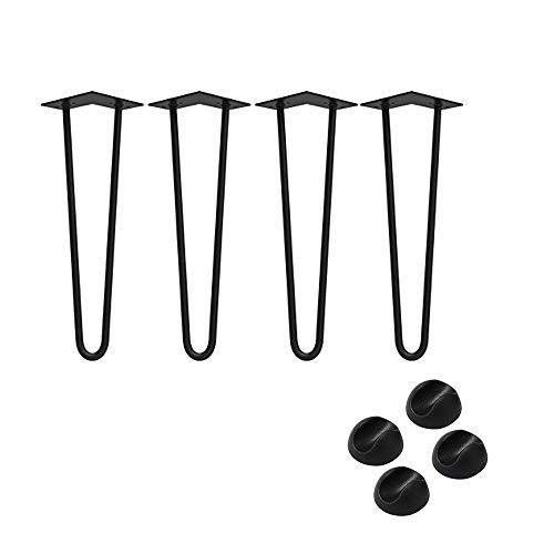 AUFUN Haarnadel Tischbeine Schwarz 36 cm Hairpin Legs 4er Set mit 2 Stangen Haarnadelbeine Möbelbein Tischgestell Tischkufen für Esstisch Couchtisch Schreibtisch Kaffeetisch, inklusive Bodenschoner